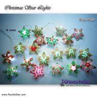 Tutorial Christmas Star Lights 20 x - 3D Peyote Stars + Basic Tutorial Little 3D Peyote Star