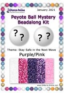 * Peyote Ball Beadalong Kit * January 2021 - Stay Safe in the Next Wave Purple/Pink