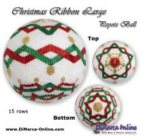 Tutorial 15 rows - Christmas Ribbon Large Peyote Ball incl. Basic Tutorial (download link per e-mail)