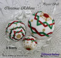 Tutorial 07, 11, 15 rows - Christmas Ribbons 3 sizes Peyote Ball incl. Basic Tutorial (download link per e-mail)