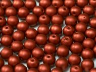 RB8-01890 Lava Red Satin Round Beads 8 mm