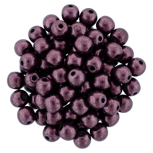RB3-06B01 ColorTrends - Metallic Red Pear Round Beads 3 mm - 100 x