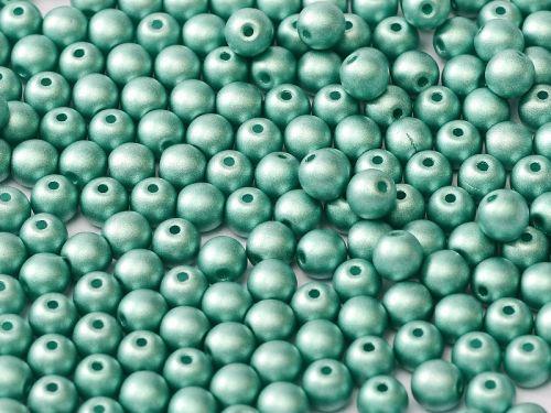 RB3-29455 Metallic Matt Green Turquoise Round Beads 3 mm - 100 x