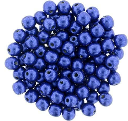 RB3-77065 ColorTrends - Metallic Lapis Blue Round Beads 3 mm - 100 x