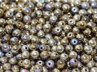 RB3-98554 Glittery Argentic Round Beads 3 mm - 100 x