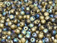 RB3-98857 Glittery Amber (Gold) Matt Round Beads 3 mm - 100 x
