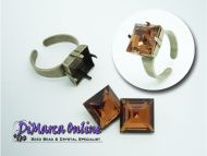 Ring Setting 12 mm Square Antique Bronze Plated