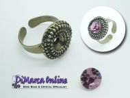 Ring Setting SS39 - 8 mm Glue-In Dots Antique Bronze Plated