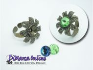 Ring Setting SS39 - 8 mm Glue-In Flower Antique Bronze Plated
