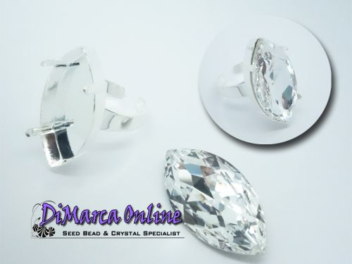 Ring Setting Navette 32x17 mm Silver Plated
