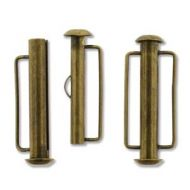 Slide Clasp Antique Bronze Plate with Side Bars 26 mm