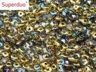 SD-00030/98536 Crystal Rainbow Gold SuperDuo Beads