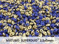 SD-33050/26471 Fool's Gold Opaque Matt Blue SuperDuo Beads * BUY 1 - GET 1 FREE *