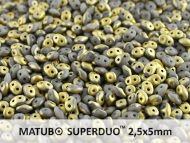 SD-43020/26471 Fool's Gold Opaque Matt Grey SuperDuo Beads * BUY 1 - GET 1 FREE *