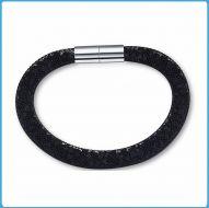 Crystal Mesh Bracelet - Swarovski Stardust Style Black 19 cm