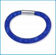 Crystal Mesh Bracelet - Swarovski Stardust Style Blue 19 cm
