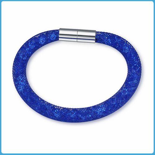 Crystal Mesh Bracelet - Swarovski Stardust Style Blue 20 cm