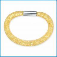 Crystal Mesh Bracelet - Swarovski Stardust Style Gold 20 cm