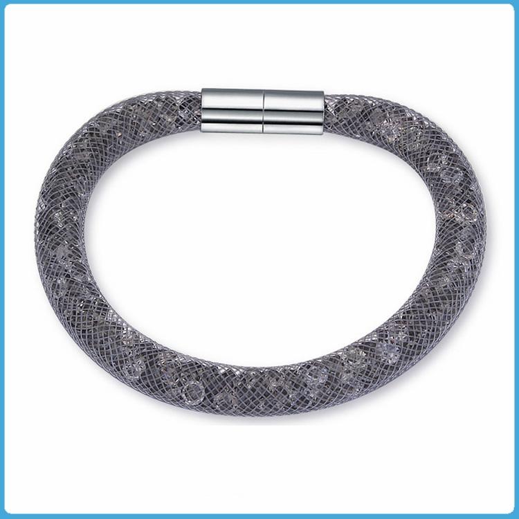 Crystal Mesh Bracelet - Swarovski Stardust Style Grey 20 cm