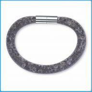 Crystal Mesh Bracelet - Swarovski Stardust Style Grey 19 cm