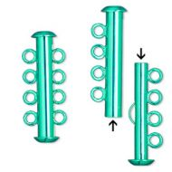 Slide Clasp 4 strands Electro-Plated Green 26 mm