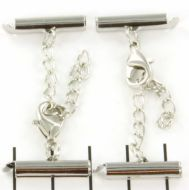 Slide Tube End Bar with Lobster Clasp and Extension Chain Silver 20 mm