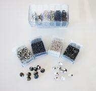 Mos-SG Silver/Grey Shiny Mosaic Bead & Chaton Pack - Akke Jonkhof