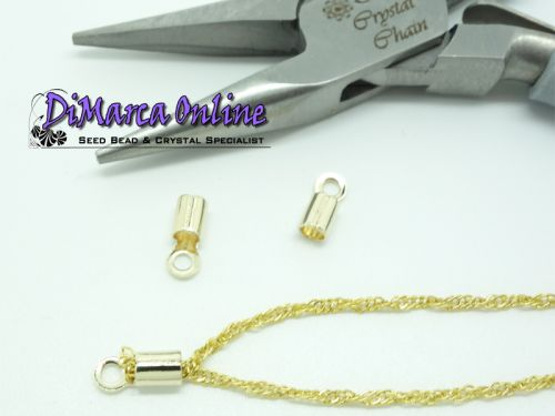 Crimp Ends with Loop 2 mm Gold Plated - 10 x